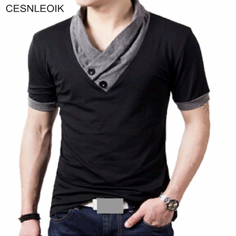 T shirts men v neck t shirt brand cotton mens patchwork for Mens t shirts free shipping