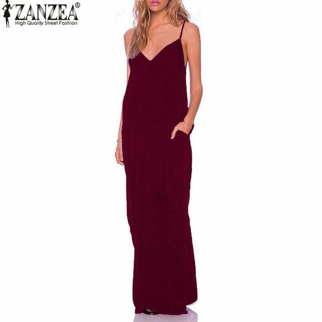 9a1a265f0435 ZANZEA 2018 Summer Vestidos Women Dress Boho Strapless V-neck Sleeveless Baggy  Long Maxi Dresses