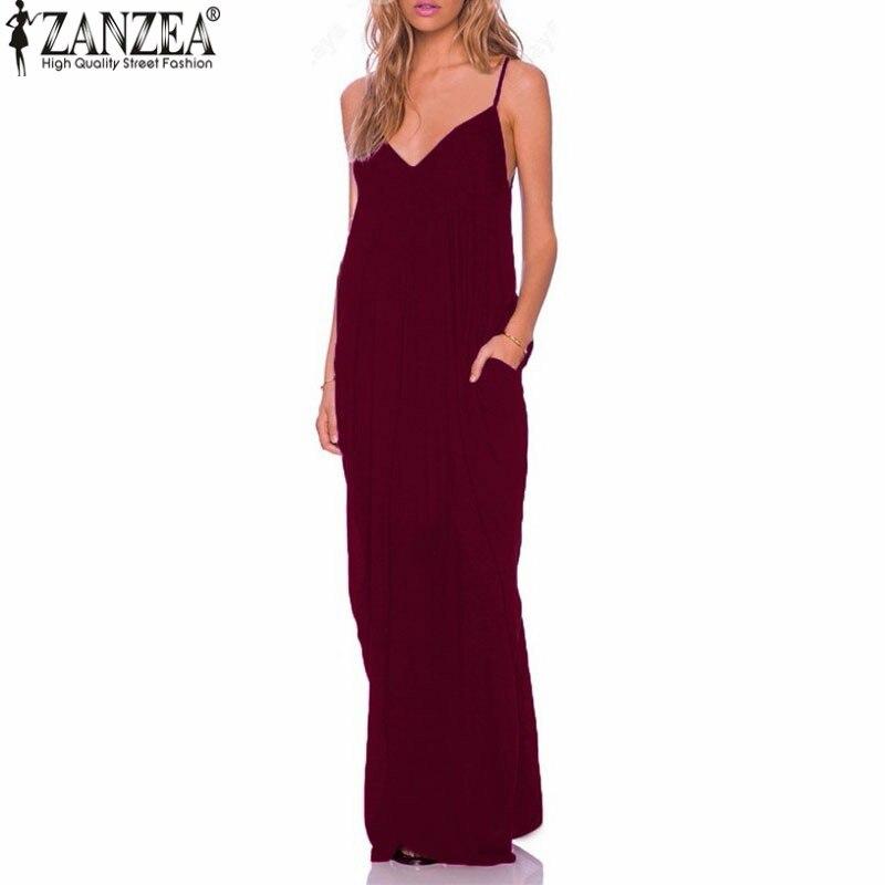 ZANZEA Estate 2018 Vestidos Donne Vestito Da Boho Senza Spalline Con Scollo A V Senza Maniche Baggy Lunga Maxi Abiti Sexy Beach Sundress Veste Femme
