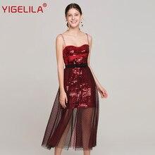ФОТО yigelila 2018 women summer sexy sequined party dress spaghetti strap empire slim floor length mesh long dress fashion week 63815