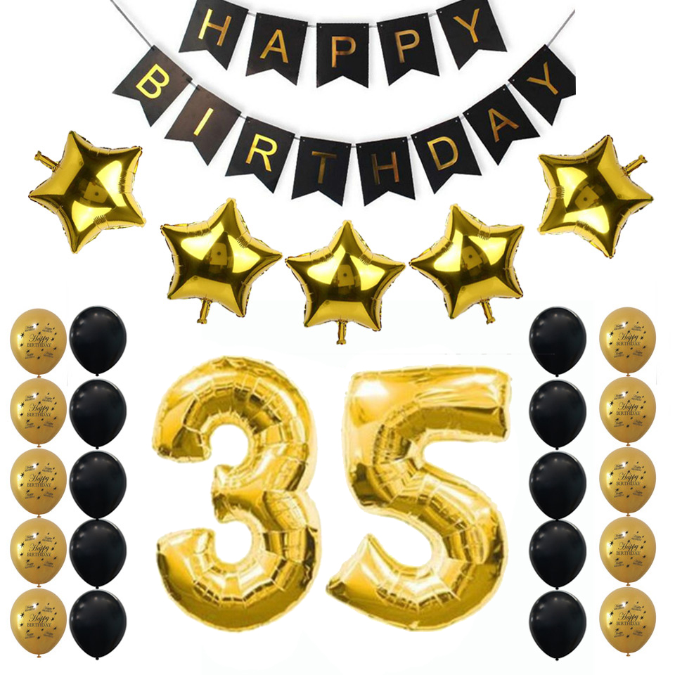 Amawill Gold Black Kit 35th Birthday Party Decoration Sets Happy Banner 35 Years Old Supplies 8D In Ballons Accessories From Home Garden