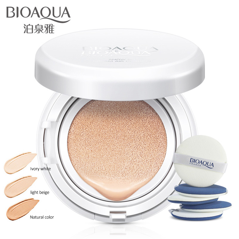 On Sale BIOAOUA Sunscreen Air Cushion BB CC Cream Concealer Moisturizing Foundation Whitening Makeup Bare For Face Beauty Makeup