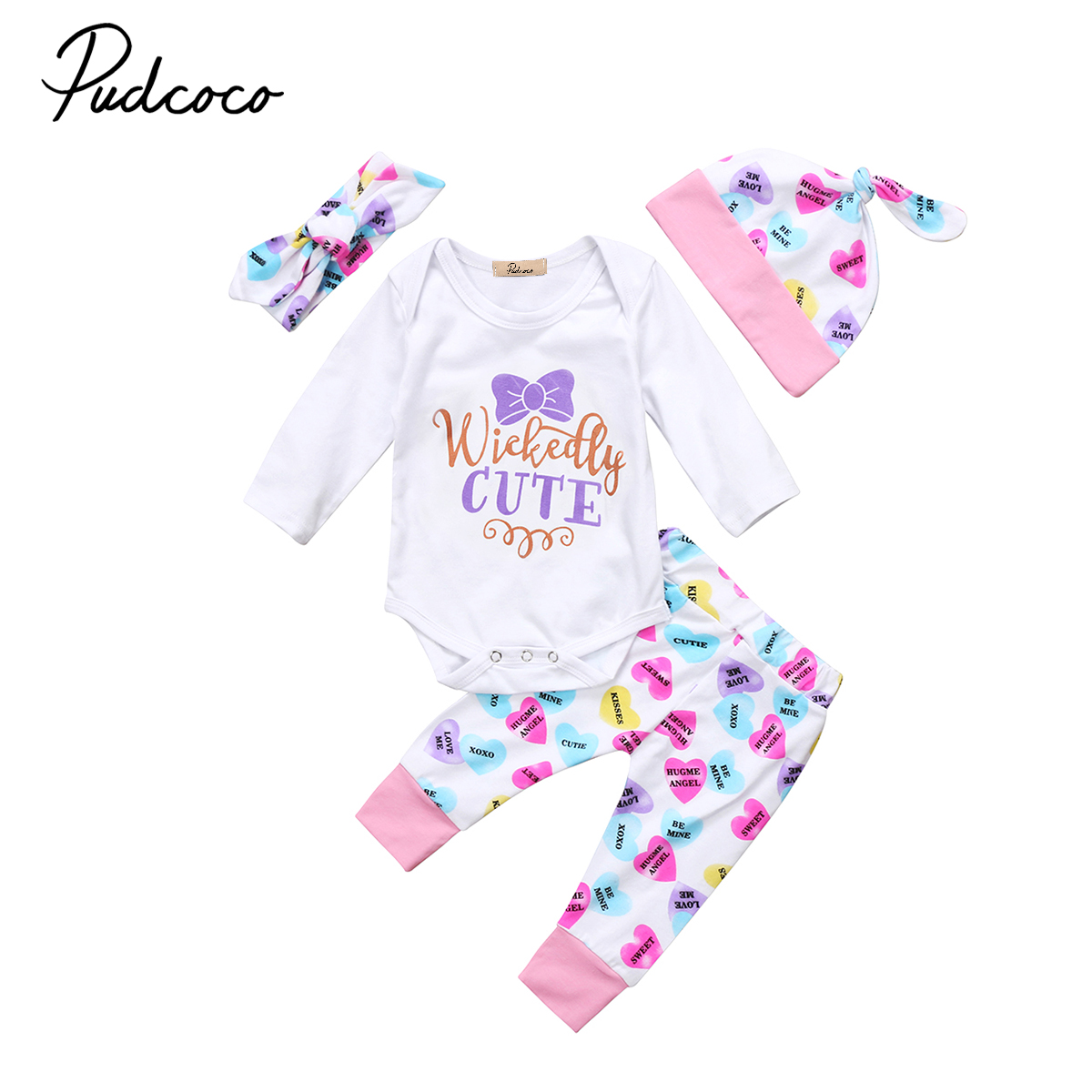 273ada355f9e cute Newborn Kids Baby Girl autumn clothes purple letter print long sleeve  Romper long heart Pants Hat baby Outfits Set Clothes