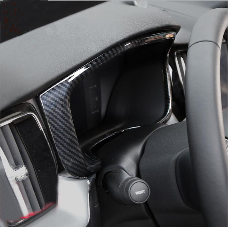 For Volvo <font><b>XC60</b></font> 2018 <font><b>Carbon</b></font> Fiber Color Dashboard Frame Decoration Cover Trim ABS Car Styling Interior Modified image