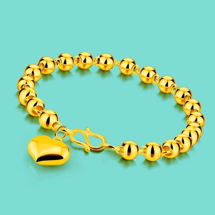 Us 12 6 19 Off New Women S Gold Bracelet 24k Yellow Heart Pendant Design Bead 6mm18cm Size Lady Charm Jewelery Birthday Present In