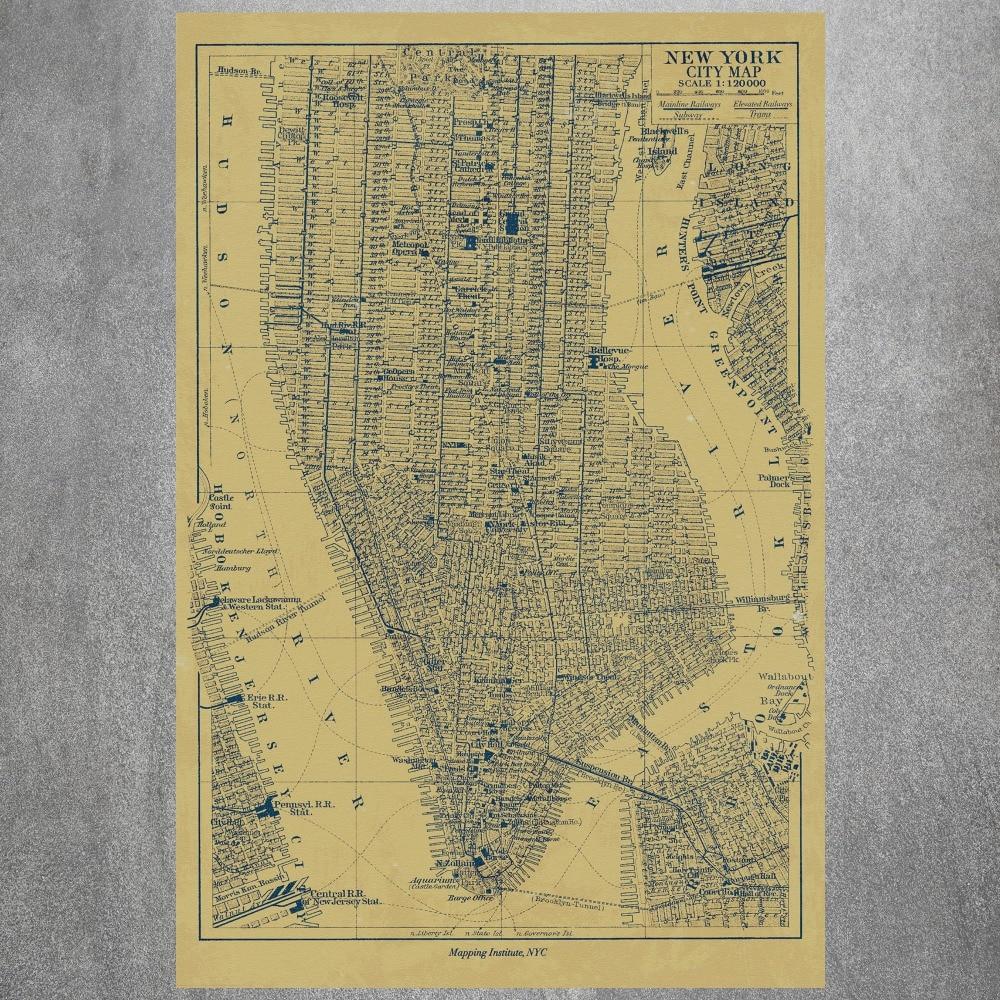 Aliexpresscom  Buy New York City Map Canvas Art Print Painting - Nyc map to print