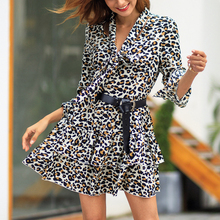 JSMY Women New Long Sleeve Lapel Slim Dress Leopard Print V-Neck Flare Party