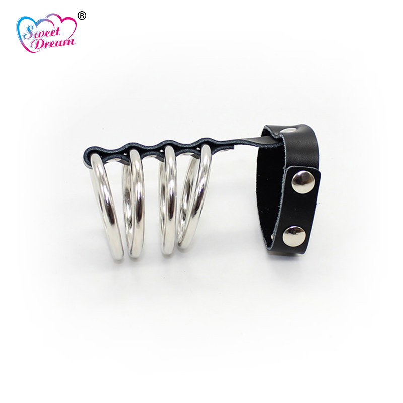 Sweet Dream 4 Metal Rings Cock Ring Ball Stretcher Male Chastity Device Scrotum Adult Game Sex Toys for Men Sex Products DW-364