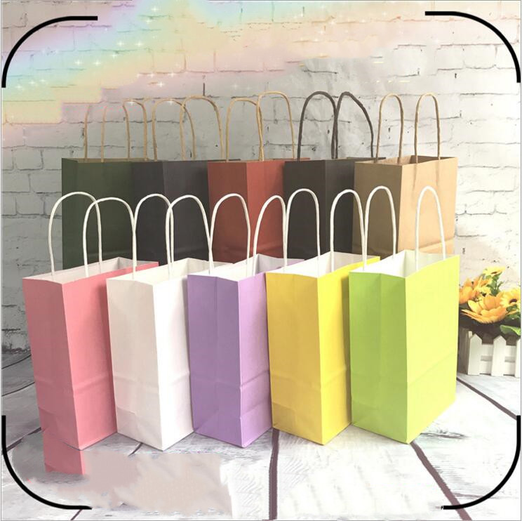 Fashionable Paper Bags Small Large Kraft Paper Gift Bag Festival Paper Bag With Handles Custom Logo 5pcs