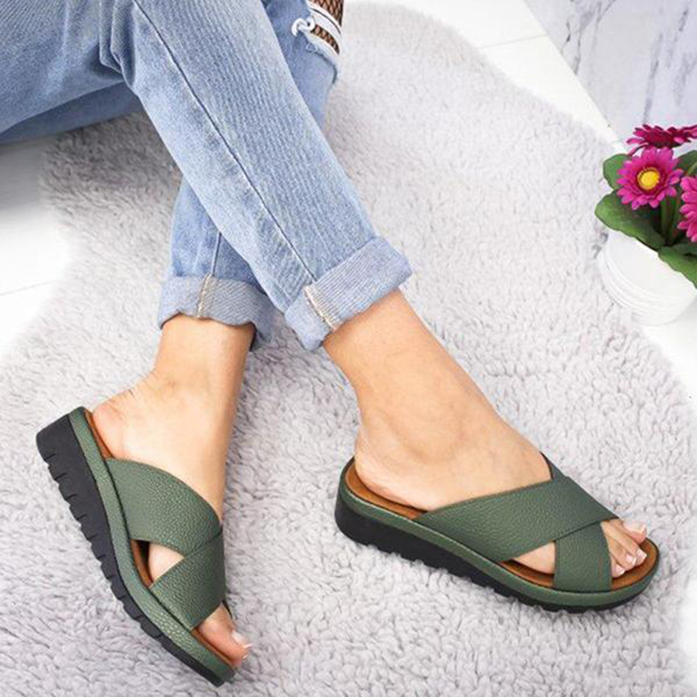 Summer Fashion  Ladies Casual Soft  Open Toe Foot Correction Slippers Women Leather Shoes Wedge Comfy Platform Flat SlippersSummer Fashion  Ladies Casual Soft  Open Toe Foot Correction Slippers Women Leather Shoes Wedge Comfy Platform Flat Slippers