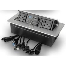 Enchufe de escritorio multimedia de alta definición estándar australiano, toma de corriente universal, toma de mesa oculta, HDMI, enchufe de escritorio emergente, B15