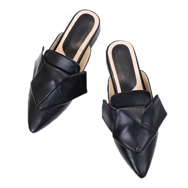 5d840a760 Women Mules Flats Bow Slippers Slip On Loafer Pointed Toe Low Heel Slide  Sandals Leather Mule Fashion Shoes black white oversize