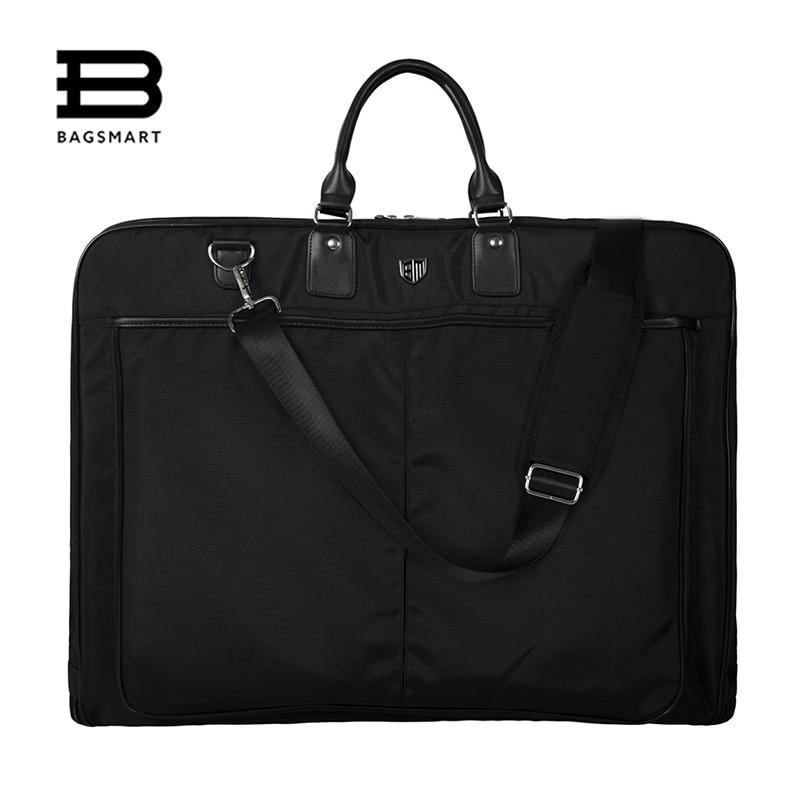BAGSMART 2018 Водонепроницаемый черный нейлон Гар Для мужчин t сумка с ручкой легкий костюм сумка Бизнес Для мужчин дорожные сумки для костюмы