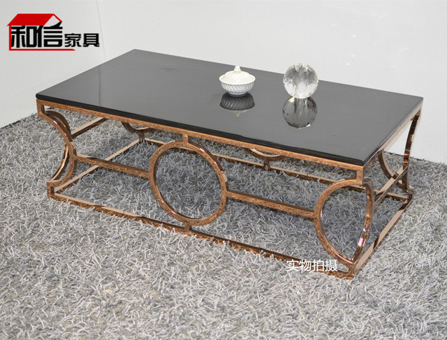 low glass coffee table rectangular rose gold stainless steel bar glass coffee table small metal creative minimalist living