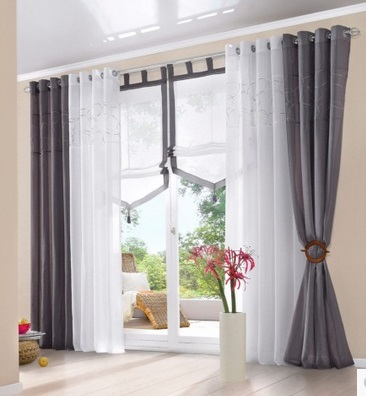 Morden Embroidered Cotton Balcony Window Tulle Curtains Grey White Brown Sheer  Curtains Cortinas For Window(