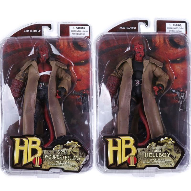7inch 2 Type Movie HB Hellboy Series Includes Cigar Samaritan Handgun Action Figure Collectible Model Toy