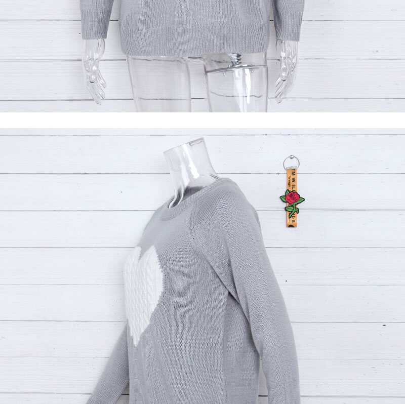 18 new winter white knitted sweater Women lantern sleeve loose gray pullover female Soft warm autumn casual love heart jumper 10