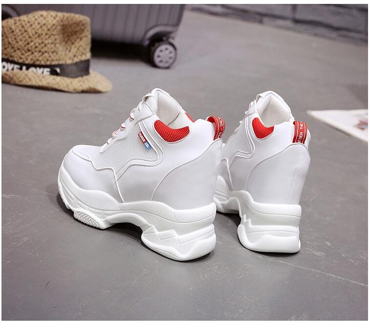 US $21.88 43% OFF|New Women Summer Mesh Platform Sneakers Trainers White Shoes 9.5CM High Heels Wedges Outdoor Shoes Breathable Casual Shoes Woman in