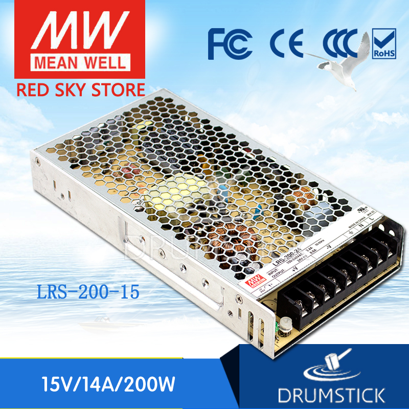 Selling Hot MEAN WELL LRS-200-15 15V 14A meanwell LRS-200 15V 210W Single Output Switching Power Supply original mean well lrs 350 15 350w 15v 23 2a output meanwell switch mode led power supply