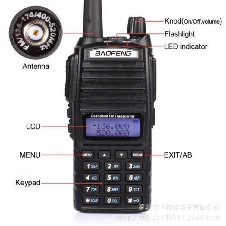 HOT! Walky Talky Professional 10km Walkie Talkie Vox with Double PTT CB Ham Portable Radio Station Handy Radio Vhf Uhf Dual Band (28)
