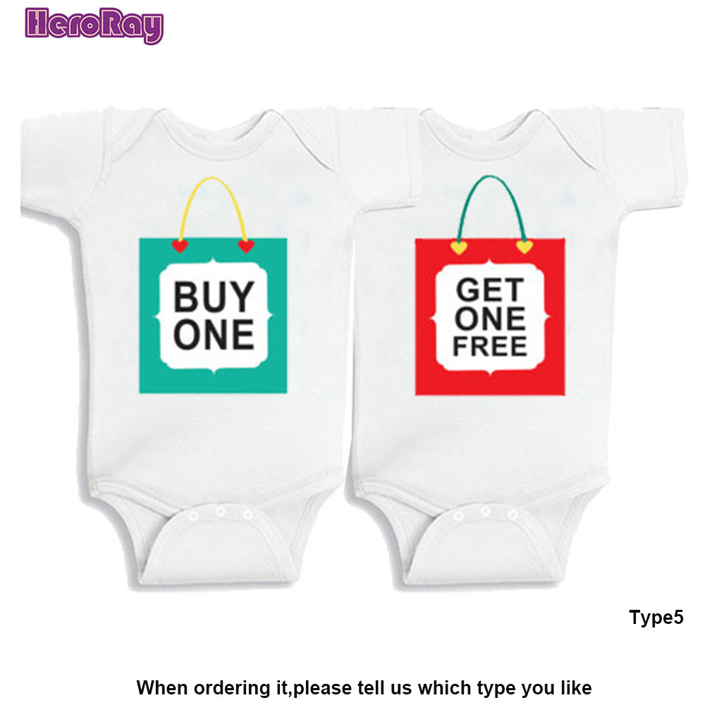 Best Baby Twins Gift Baby 100% Cotton Clothes Twins Set Buy One Get Free Baby Gift Short Sleeved Jumpsuit Outfit Creeper 0-12M