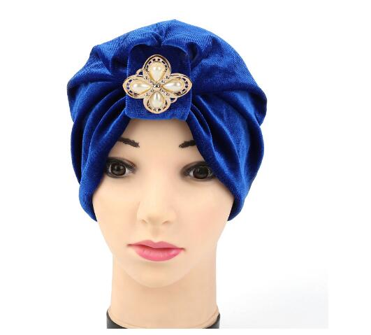 2017 Hot Bandanas Womens Hair Wrap Chemo Velvet Indian Hijab Head Cover Up Bonnet Turban with metallic accessory