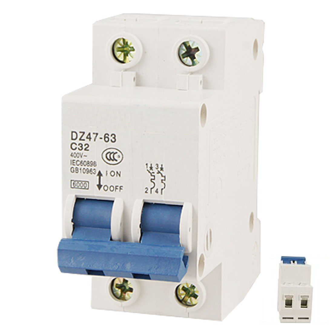 цена на High Quality DZ47-63 C32 AC 400V 32A 6000A 2 Poles DIN Rail Mount Miniature Circuit Breaker