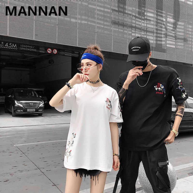 MANNAN/2019 летняя Свободная рубашка с круглым вырезом и вышивкой «Magpie» и короткими рукавами, Повседневная футболка с джокером