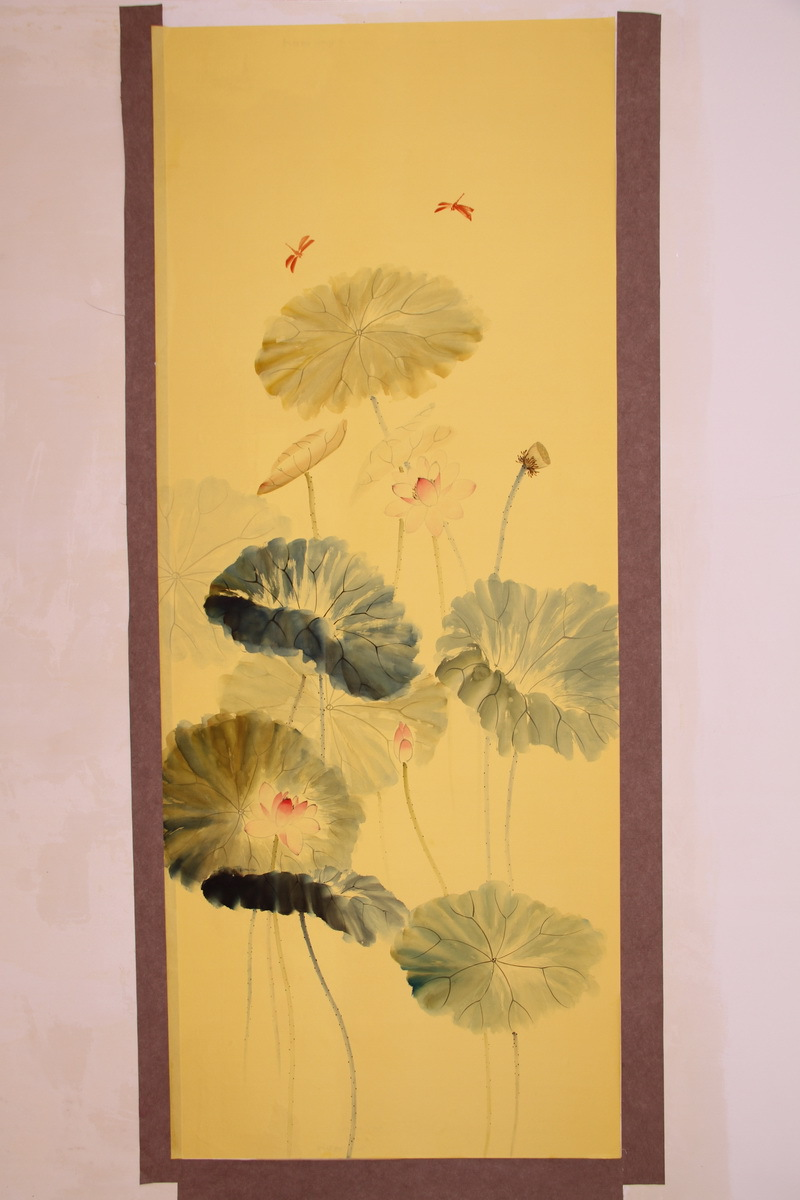 Classic Elegant Hand Painted Silk Wallpaper Painting Lotus Wallcovering Many Pictures Optional