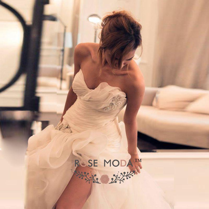 Weddings & Events Rose Moda Organza Beach Wedding Dress With High Slit Reception Dress 2019