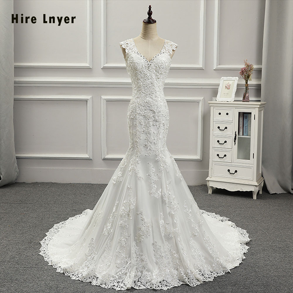 Cheap Wedding Dresses To Rent: HIRE LNYER 2019 New Arrive Bridal Gowns V Neck Shiny