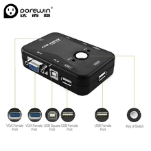 Здесь можно купить  Dorewin 2 Port USB KVM Switch Box VGA SVGA Splitter With 2 USB Cables KVM Video Sharing Switcher for Laptop PC Mouse Keyboard