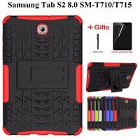 Heavy Duty TPU + PC Caso Híbrido Armadura para Samsung Galaxy Tab S2 8.0 polegada Fique Capa para Tab S2 8.0 SM T710 T715 T713 Case + Filme + Caneta Estojo p/ tablets e e-books     -