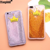 For Iphone 7 Plus Phone Case Dynamic Liquid Queen Bling Glitter Quicksand Moving Star Cover Fundas