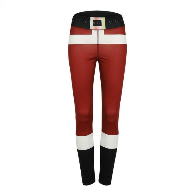 bbdf3a13f Red And White Stripes Cosplay Leggings Christmas Fashion Pencil Trouser  Trend Women Christmas Elf Red Pants Slim Legging Bodycon