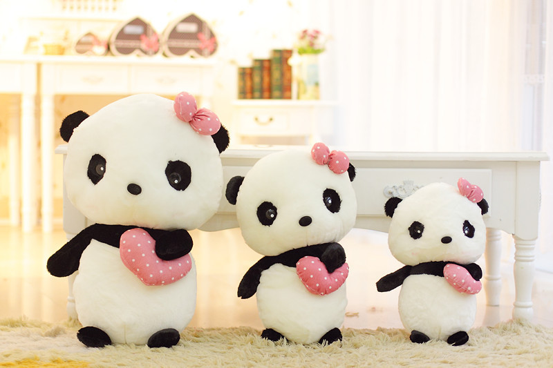 New Coming 1PC Standing Posture 30-50cm Cute Miss Panda Wear Bow Stuffed Animals Doll Plush Toys For Kids Girls Birthday Gift