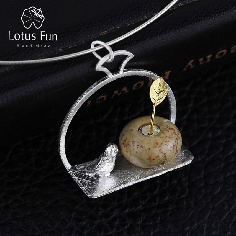 Lotus Fun Real 925 Sterling Silver Handmade Fine Jewelry Bird and Flower Design Pendant without Necklace Acessorios for Women rural style flower and bird pattern square shape flax pillowcase without pillow inner