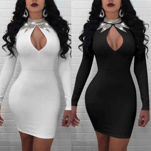 UK 2018 New Fashion gorąca, seksowna damska Bodycon z długim rękawem dziura O szyi sukienka damska mini sukienka na imprezę rozmiar 6-14