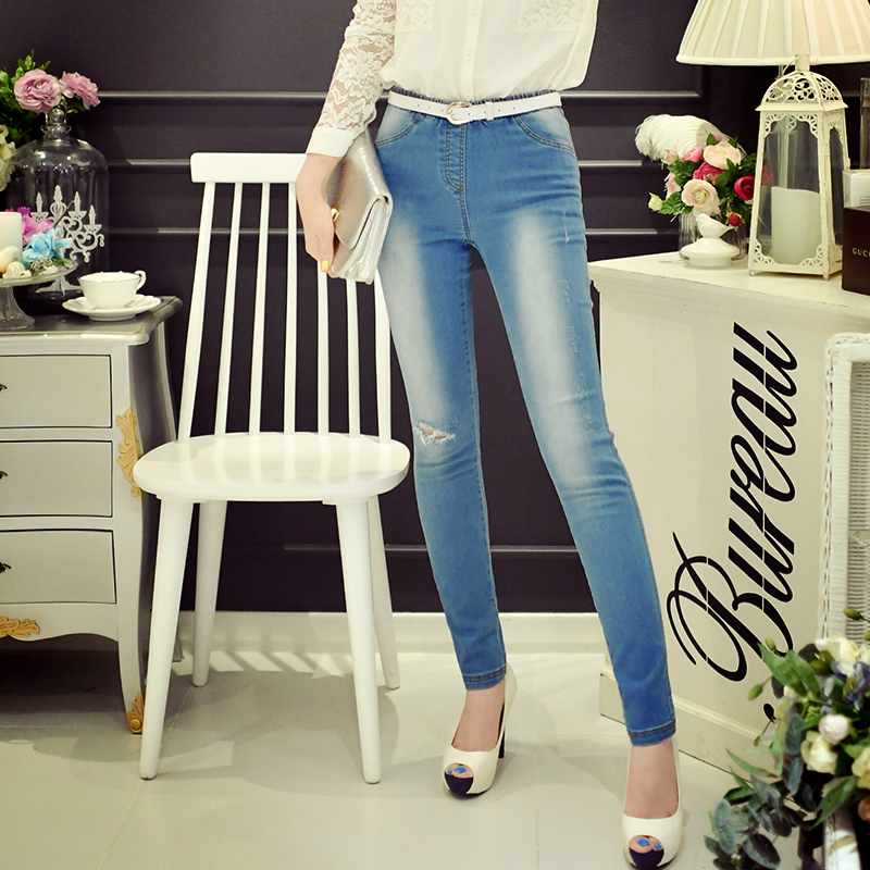 Original 2016 Brand Denim Pants Autumn Elastic Waist Chic Hole Lady Elastic Jeans Women Wholesale colorful brand large size jeans xl 5xl 2017 spring and summer new hole jeans nine pants high waist was thin slim pants