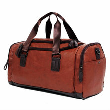 Men's PU Leather Gym Bag Women Training Bags Duffel Travel Luggage Tote Handbag Male Classic Soft Sport Bag Outdoor Shoulder Bag цена