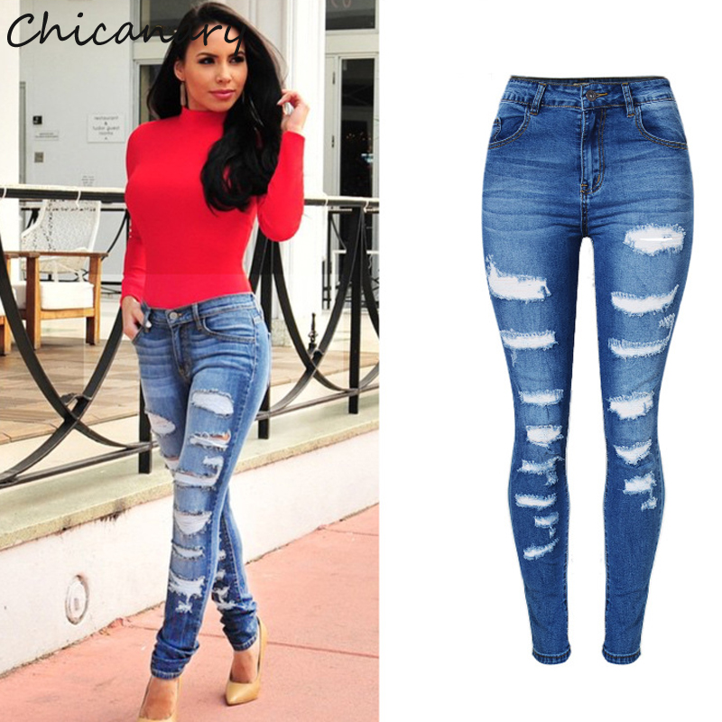 Chicanary Europe Fashion Ripped High Waist Stretchy Denim Jeans Skinny Pants Women Plus Size New Casual