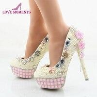 Ivory Pearl Wedding Shoes Women Stiletto Heel Bridal Dress Shoes Party Prom Pumps Rhinestone Pink Platforms Plus Size US 11