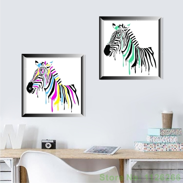 Abstract Zebra Decorative Wall Picture Cute Animal Canvas Painting Modular Wallpaper No Frame Home Living Room