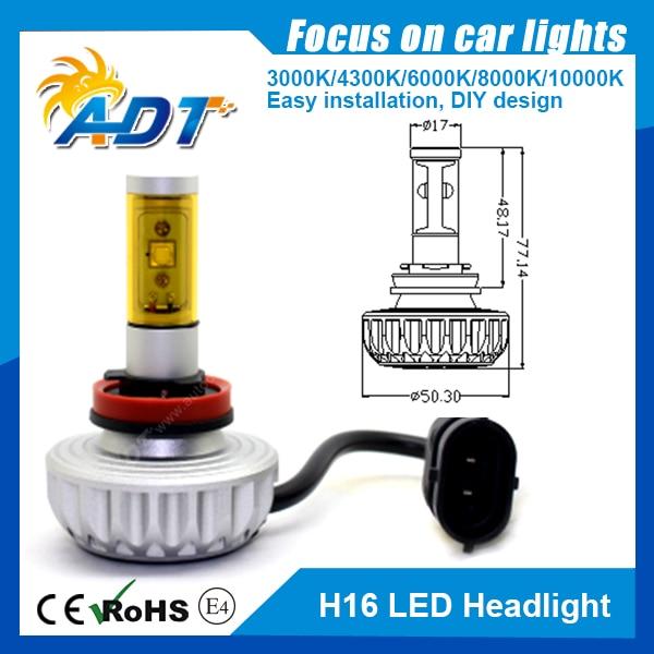 2PCS*40W 6000LM Auto Cr ees LED H16 single beam All in One Car Headlight bulb Driving fog Lamp Aluminum 6000 6500K