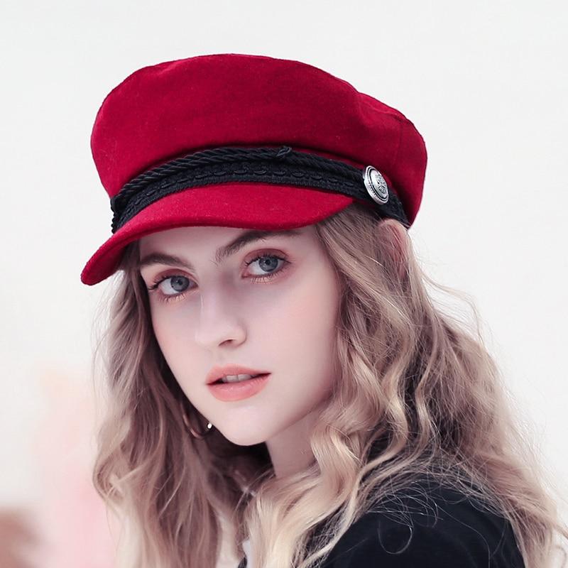 2018 Trend Winter Hüte Für Frauen Französisch Stil Wolle Bäcker der Junge Hut Weibliche Kühle Baseball Kappe Schwarz Visier Hut gorras Casquette
