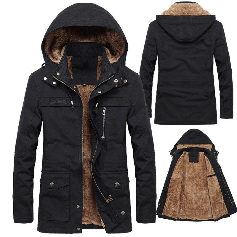 Winter Jacket Men Thick Hooded Thick Warm Fleece Jacket Coat Male multi-pocket Casual Warm   Parka   Windbreaker   parka   Jacket Men