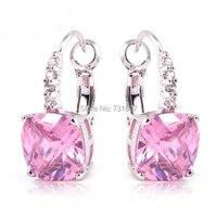 Happy 2016 Wholesale Noble Elegant Pink Topaz Dangle Hook  Silver Earrings Fashion Wedding Jewelry  Free Shipping