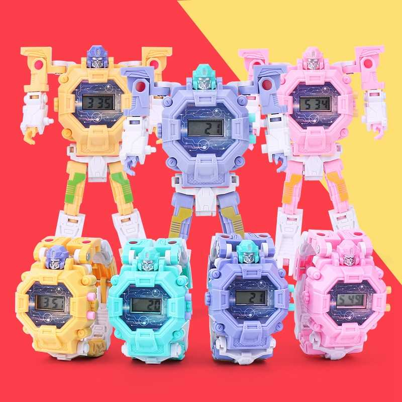 Robot Watch Transformation Wristwatch Kids Toys Deform Robot Watch Creative Cartoon Anime Figures Xmas Gifts Action Toys Figures