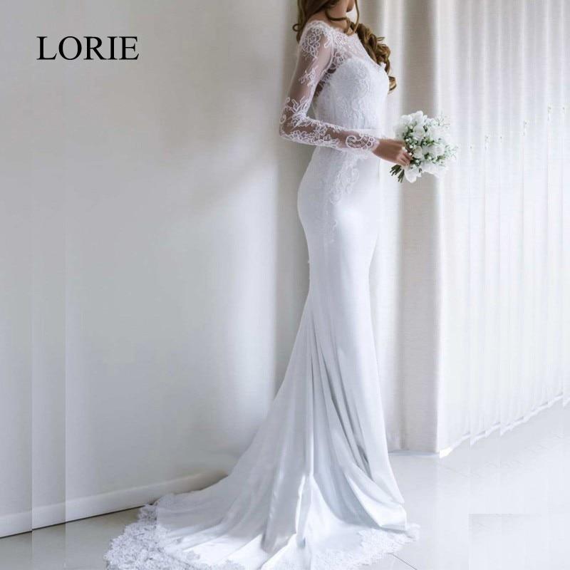LORIE Mermaid Wedding Dress With Long Sleeves 2018 Vestidos De Novia  Vintage Lace Silky Satin Bridal Gown Backless Sweep Train 0869b46a0d9b