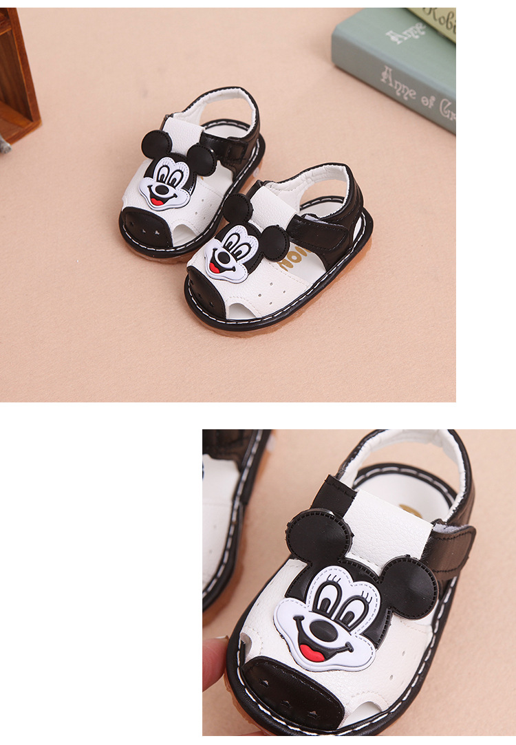 17 New Arrival Summer Baby boys Sandals mickey Toddler Kids soft sole Shoe baby singing shoes Baby girls Shoes Soft Leather 14